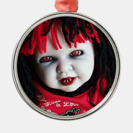 Spooky Halloween Doll Metal Ornament