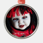 Spooky Halloween Doll Round Metal Christmas Ornament