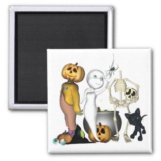 Spooky Halloween friends magnet