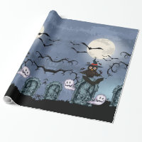 Spooky Halloween Graveyard With Owl In A Fool Moon Wrapping Paper