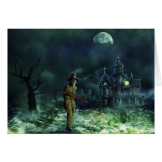 Spooky Halloween Grim Reaper and Haunted House Card