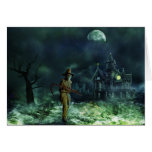 Spooky Halloween Grim Reaper and Haunted House Greeting Card