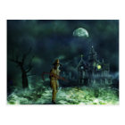 Spooky Halloween Grim Reaper and Haunted House Postcard