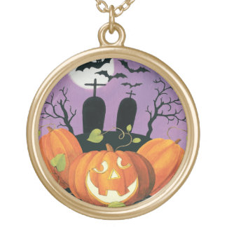 Spooky Halloween Haunted House Gold Plated Necklace
