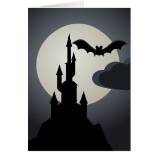 Spooky Halloween Haunted House on Hill Card