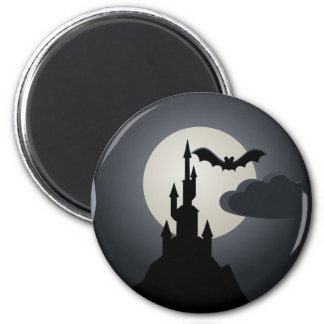 Spooky Halloween Haunted House on Hill Magnet