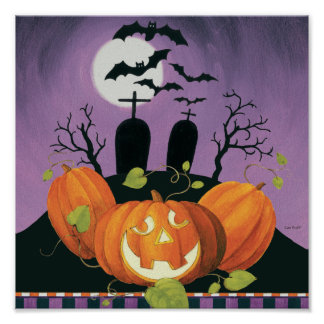 Spooky Halloween Haunted House Poster