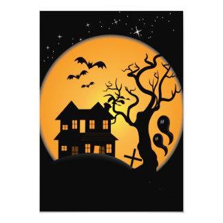 spooky halloween haunted house scene vector 5x7 paper invitation card