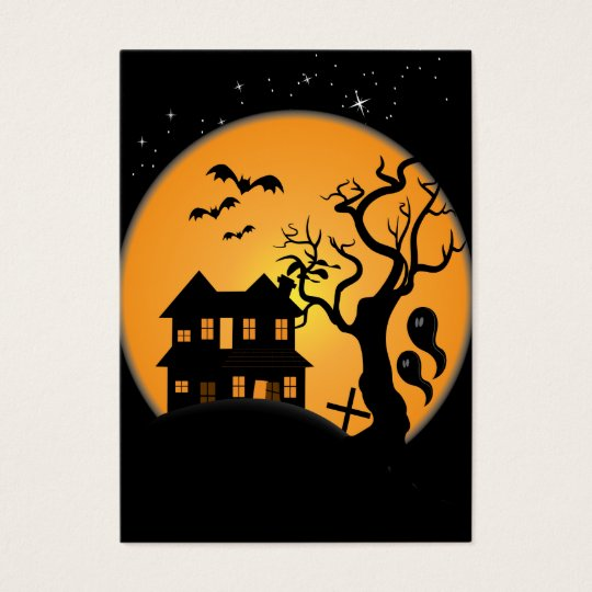 spooky halloween haunted house scene vector business card