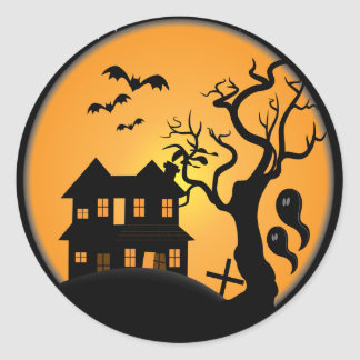 spooky halloween haunted house scene vector classic round sticker
