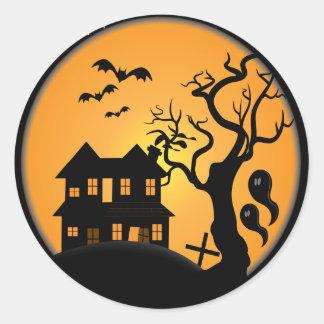 spooky halloween haunted house scene vector classic round sticker