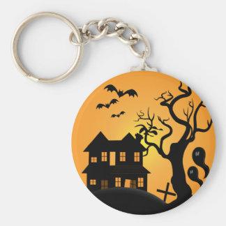 spooky halloween haunted house scene vector keychain