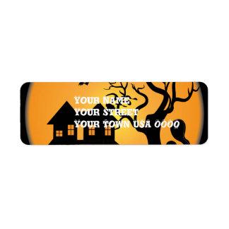 spooky halloween haunted house scene vector label
