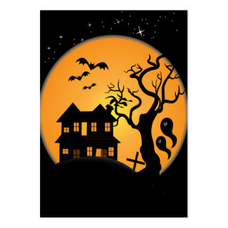 spooky halloween haunted house scene vector large business cards (Pack of 100)