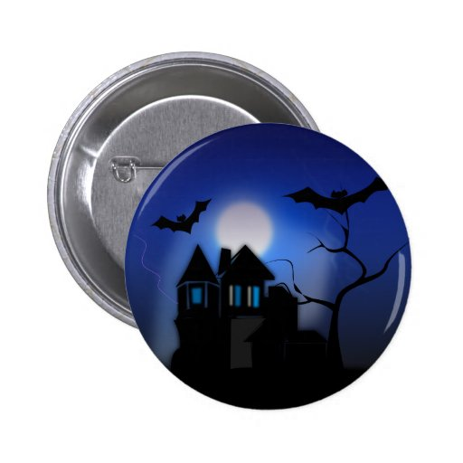 Spooky Halloween Haunted House with Bats 2 Inch Round Button