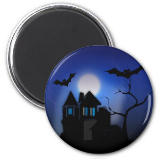 Spooky Halloween Haunted House with Bats 2 Inch Round Magnet