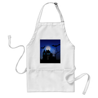Spooky Halloween Haunted House with Bats Adult Apron