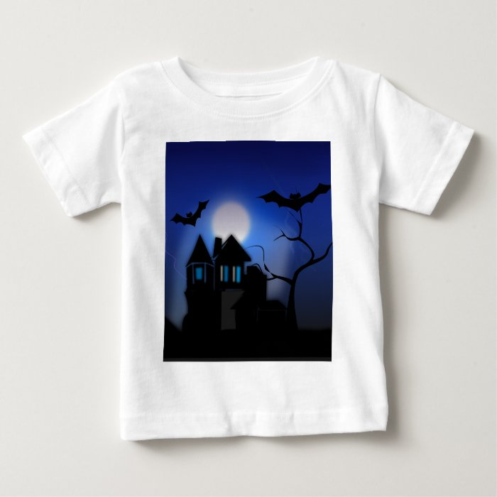 Spooky Halloween Haunted House with Bats Baby T-Shirt