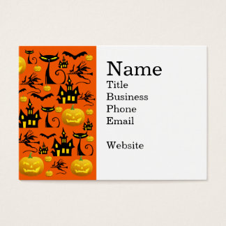 Spooky Halloween Haunted House with Bats Black Cat Business Card