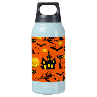 Spooky Halloween Haunted House with Bats Black Cat Insulated Water Bottle