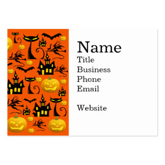 Spooky Halloween Haunted House with Bats Black Cat Large Business Card