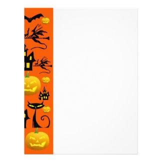 Spooky Halloween Haunted House with Bats Black Cat Letterhead