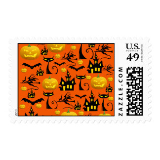 Spooky Halloween Haunted House with Bats Black Cat Stamp