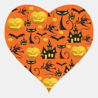 Spooky Halloween Haunted House with Bats Black Cat Heart Sticker