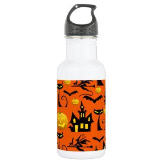 Spooky Halloween Haunted House with Bats Black Cat Water Bottle