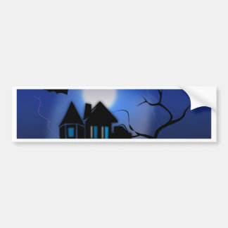 Spooky Halloween Haunted House with Bats Bumper Sticker