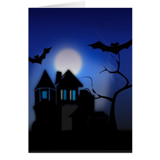 Spooky Halloween Haunted House with Bats Card
