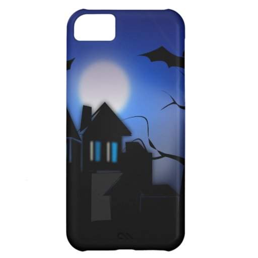 Spooky Halloween Haunted House with Bats iPhone 5C Covers