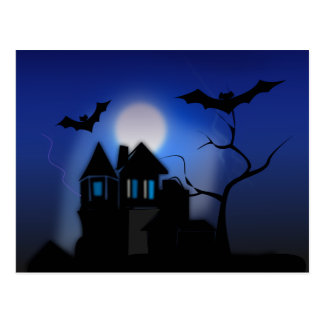 Spooky Halloween Haunted House with Bats Postcard