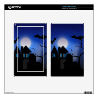 Spooky Halloween Haunted House with Bats Skin For Kindle Fire