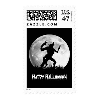 Spooky Halloween Horror Werewolf at the Full Moon Postage