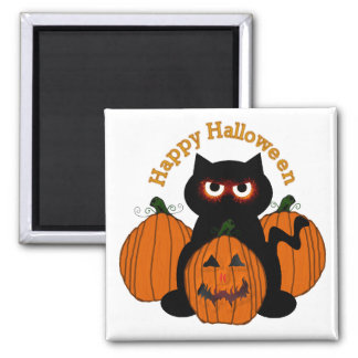 Spooky Halloween Kitty 2 Inch Square Magnet