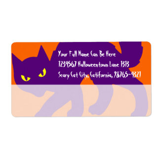 Spooky Halloween Kitty Cat Label