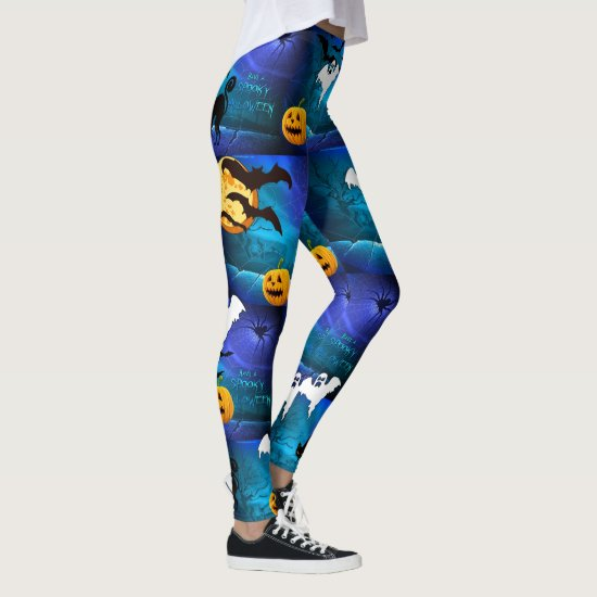 Spooky Halloween Leggings Bats Running Pants