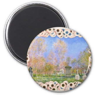 Spooky Halloween Monet Springtime In Giverny 2 Inch Round Magnet