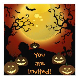 Spooky Halloween Moon, Pumpkins and Bats Invitatio Invitations