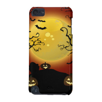 Spooky Halloween Moon, Pumpkins and Bats iPod Touc iPod Touch 5G Cases