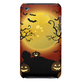 Spooky Halloween Moon, Pumpkins and Bats iPod Touc iPod Touch Cover