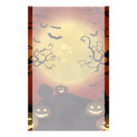 Spooky Halloween Moon, Pumpkins and Bats Stationer Personalized Stationery