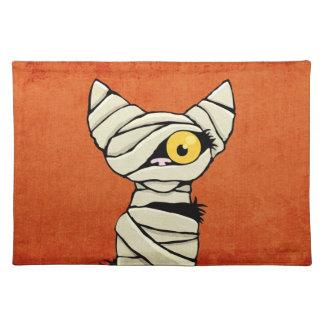 Spooky Halloween Mummy Cat Placemats