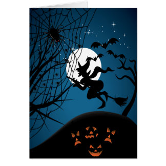 spooky halloween night witch and spiders vector cards