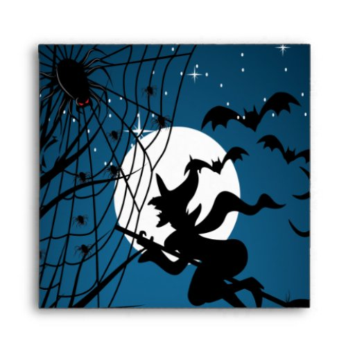 spooky halloween night witch and spiders vector envelope