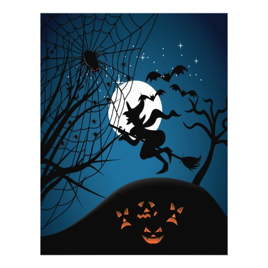 spooky halloween night witch and spiders vector flyer