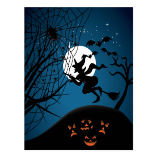 spooky halloween night witch and spiders vector postcard
