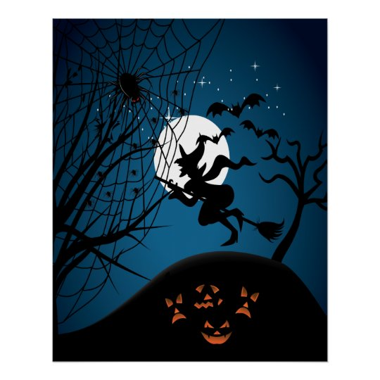 spooky halloween night witch and spiders vector poster