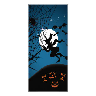 spooky halloween night witch and spiders vector rack card